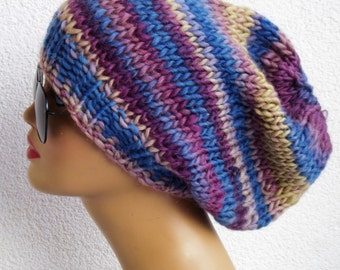 hand knit beret knit hat knit beanie Beret, Ribbed,  slouchy beret knit chunky beanie valentine day gift