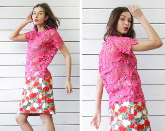 Vintage fuchsia pink semi sheer lace see through round neck short sleeve blouse top S