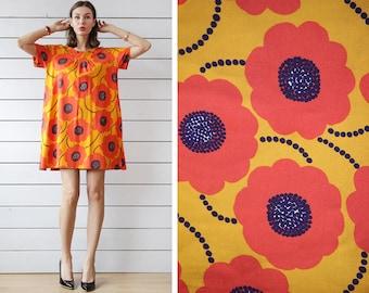 MARIMEKKO bright orange yellow naive floral print cotton tunic mini dress XL