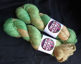 Citric hand dyed silk and camel Dk yarn