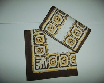 Vintage Swedish set of two unused printed tablecloths - Gold - Brown - Yellow