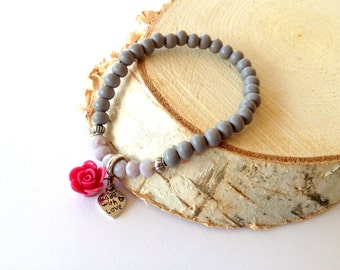 Grey wooden bracelet with grey facet beads rose. Rose wooden bead bracelet. Made with love bracelet. Linnepin010