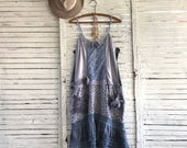 Prairie Chic Camisole Dress M/L, Upcycled Clothing for Women, Dress or Long Top, Loose Fit, Hippie Boho, Junk Gypsy
