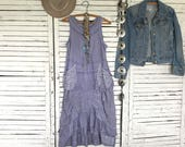 Prairie Chic Dress in Lavender S/M, Upcycled Clothing for women, Hippie Boho, Junk Gypsy, Romantic Clothing, Cotton Dress, Wearable Art