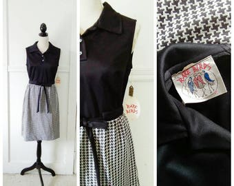 A Checkered Past 1960s Black and White Hounds Tooth Print Mod/A Line Dress, NOS