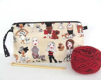 Knitting bag, Zipper cosmetic bag, Large Make Up pouch, Socks project bag or Wristlet