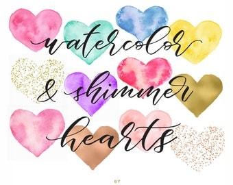 Watercolor & Shimmer Hearts - Confetti Clip art - Hand Painted Heart Clipart - Rose Gold Foil Clip Art - by Indie Grace Design