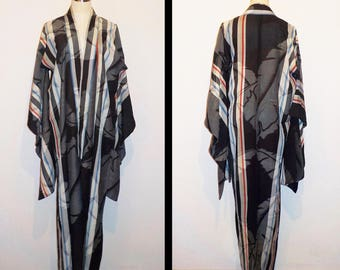 Antique kimono - Tropical leafs, IKAT, Stiff silk, Unlined