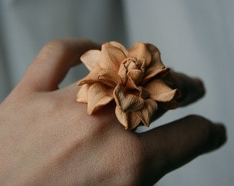 Peach leather rose flower ring