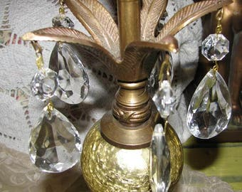 Brass Crystal Prism Gold Crackle Mercury Style Sphere Ball Candle Holder Candle Stick Free USA Shipping and Tracking Included in the Price