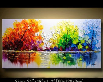contemporary wall art,Palette Knife Painting,colorful Landscape painting,wall decor,Home Decor,Acrylic Textured Painting ON Canvas Chen 0411