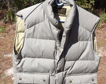 Eddie Bauer Vintage Mens Down Quilted Khaki Vest Medium Premium Down USA
