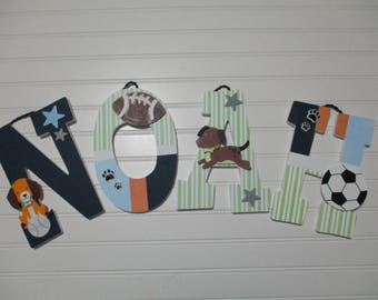 "NOAH - 12.00 per LETTER 8-1/2"" - 9"" wood letters, lambs & ivy bow wow bedding, basketball, football, soccer, puppies, bow wow buddies"
