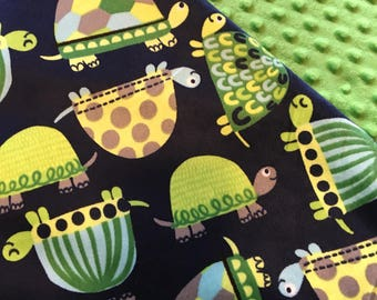 Baby Car Seat Canopy COVER or NURSING Cover: Turtles on Navy Blue Minky with Bright Green Minky, Personalization Available