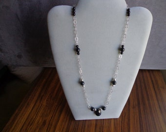 Sterling silver .925 and black onyx necklace.