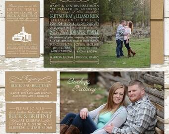 Typography Photo Wedding Invitation - Custom Wedding Invitation Set - pink and black, typography design with engagement photos, LDS wedding