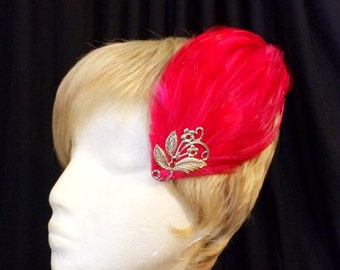 Red-rooster-feather-silver-flower-crystal-flapper-hair-fascinator-appliqué-clip
