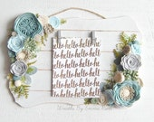 Whitewashed Rectangle Wood Felt Floral Sign with clips for pictures, door wreath decor, home decor, summer decor, wood sign floral