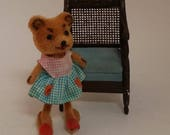 Vintage Kunstlerschutz Fuzzy Dressed Bear -- 3 Inch Girl, Handwork / Made in West Germany, Paper Tag -- for Dollhouse, Display, Collection