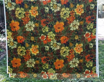 Orange, Yellow, Green Floral Print Fabric, Midcentury, 53 Inches wide, 88 Inches Long --Light to Medium Weight Blend, for Pillows, Curtains