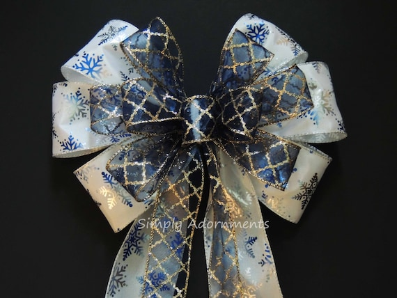 Blue Silver Snowflakes Christmas Bow Navy Blue Silver Snowflakes Bow Winter Wonderland Wedding Bow White Navy Silver Snowflakes Wreath Bow