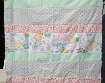 Quilt Top, Unfinished Quilt Top, Girl's Quilt, Girl's Quilt Top, Mint & Gray Quilt, Mint and Blush Quilt, Pastel Quilt, Pastel Quilt Top
