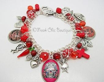 Day Of The Dead Charm Bracelet, Dia De Los Muertos, Charm Bracelet, Red Theme, La Calavera Catrina