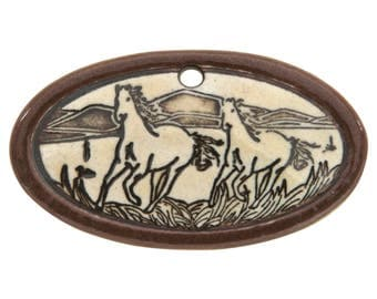 Wild Horses 1 and 7/8 inch ( 48 mm ) Small Oval Porcelain Pendant (Cocoa)