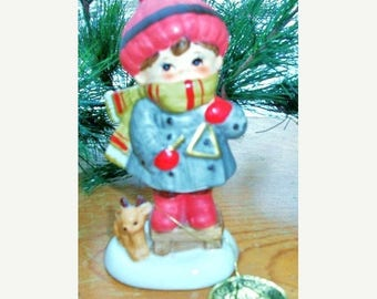 ON SALE Vintage Christmas Child In Winter Playing a Triangle With Deer Ceramic Figurine Napcoware Import Japan Children's Christmas Napcowar