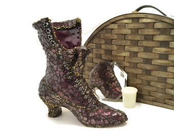 Mosaic Boot, Victorian Glass Slipper, Stained Glass Boot Vase, Purple and Gold Glass Boot Vase, Lace Up Glass Boot, Witch Boot, Victorian