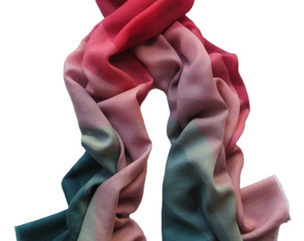 Teal Magenta Abstract Pattern Cashmere Wool Scarf