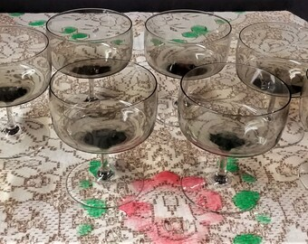 Mid Century Smokey Grey Crystal Stemmed Dessert Sherbet Coupe Glasses Set Of Eight Set Of 8 Smokey Gray Crystal Stemmed Dessert Glassware