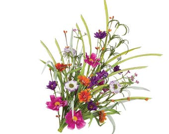 Spring Floral Bushes, Artificial Flowers, Wild Flowers, Craft Flowers, Flowers for Weddings, Wedding Table Flowers, Faux Flower Bushes