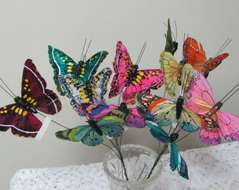 Butterfly Assortment 24 Feather Butterflies, Floral Supplies, Craft Butterflies, Wedding Butterflies, Flower Pot Embellishments