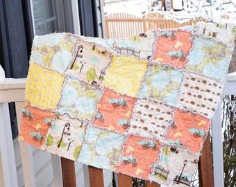 Baby Rag Quilt- Ready to ship Rag Quilt, baby shower gift, bike baby quilt, hedgehog baby quilt, yellow rag quilt, gender neutral rag quilt