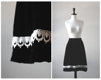 Lovely Black Velvet Vintage 1960s A Line Skirt w/ Teardrop Lace Detail