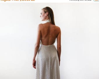 30% OFF - Blush Birthday Light metallic gold halter-neck maxi gown, Backless maxi gold dress 1070.