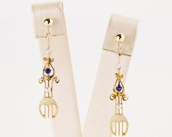 Antique Earrings - Antique Art Nouveau 14k Rose Gold Enamel, Sapphire, & Seed Pearl Conversion Earrings