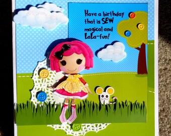 Muñeca lalaloopsy temáticos a mano 3D saludo tarjeta de cumpleaños con papel apilado técnica