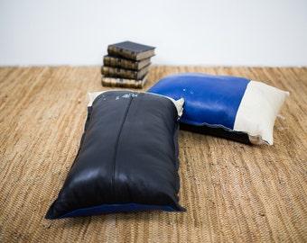 Leather Pillows , Decorative Genuine Leather Pillow Set, Pair of Leather Pillows, Handmade Pillows, Modern Contrast Pillows, Men's Pillow