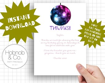 Printable disco party thank you cards INSTANT DOWNLOAD