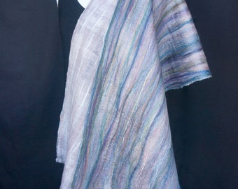 Felted Shawl. Rainbow. Merino. Silk. Eco. Sustainable. Luxury.
