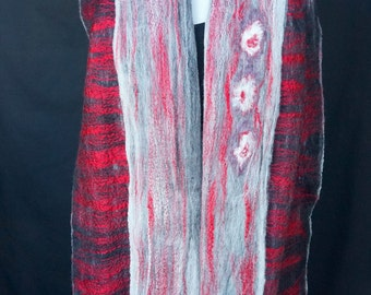 Circles. Red, Black and White Shimmery Cobweb Felted Scarf