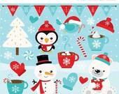 30% OFF SALE Clipart - Christmas / Winter Time / Snowman - Digital Clip Art (Instant Download)