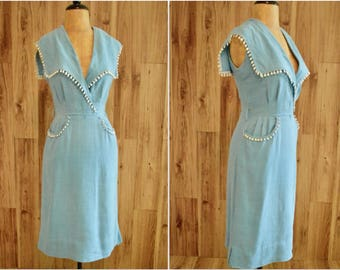 1940s Era Dress w/ Wide Square Collar, Forties Linen Blue Faux Wrap Dress, Glass Original New York Sleeveless Summer Dress with Pockets
