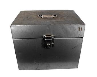 Vintage Metal Box - Mid Century Storage Box, Retro Storage Box, Mid Century Gray Metal Box, Rustic Vintage Storage Box, Industrial Storage
