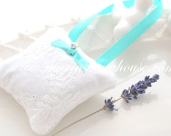 Handmade Dried Lavender Small Sachet with Swarovski Rhinestones and Satin Ribbon, Gifts for Her