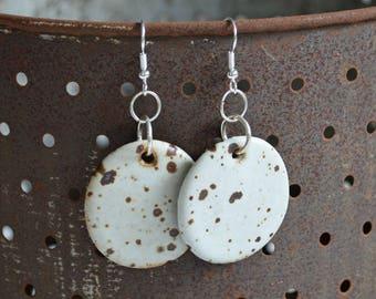 ON SALE - Ceramic Earrings - Dangle Earrings - Ceramic Jewelry - Ceramic Jewellery - Earrings - Speckled Earrings