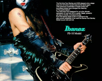 KISS Paul Stanley Ibanez PS10 Model Custom Stand-Up Display - Collectibles Collector Memorabilia Guitar Gift Magazine Advertisement Retro