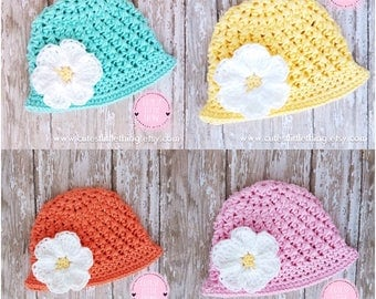 Crochet Spring Hat, Baby Flower Hat, Baby Girl Spring Hat, Baby Girl Summer Hat, Crochet Flower Hat, Crochet Summer Hat, White Flower Hat